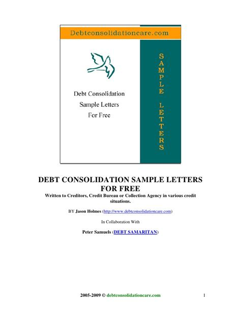 Debt Consolidation Letter To Creditors