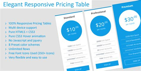responsive pricing table coding fribly elegant responsive pricing tables by jnix tech codecanyon