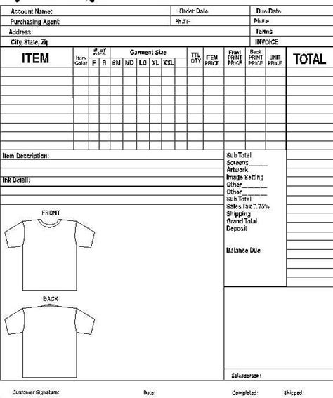 Search Results For Free Templates Work Order Forms Calendar 2015 Screen Printing Order Form Template