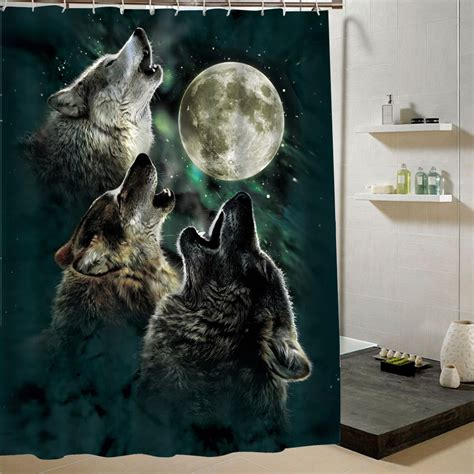wolf bathroom decor 2016 rushed new cortina ducha bath curtain wolf fashion