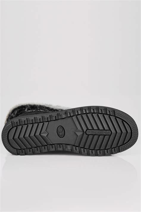 country comfort chords bottines noires bordure fausse fourrure en taille eee