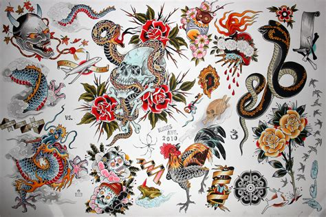 flash art tattoos flash printed sheet models picture