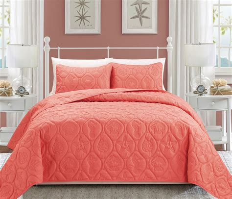coral queen bedding seashell coral reversible bedspread quilt set