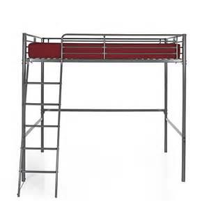 lit mezzanine 2 places gris avec sommier 140x200cm