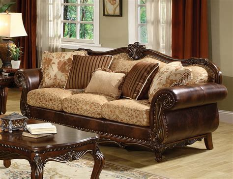 traditional sofas and loveseats remington traditional 3 pc bonded leather and fabric sofa