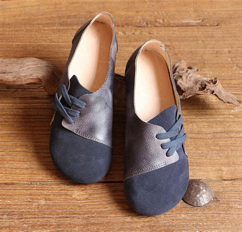 Womens Handmade Shoes - handmade shoesdark blue oxford shoes flat shoes retro