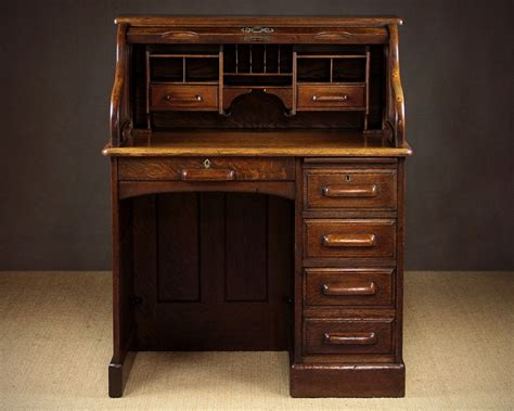 Small Early 20th C Oak Roll Top Desk C 1920 346188 Small Roll Top Desk Oak