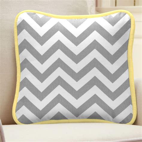 grey yellow pillows gray and yellow zig zag decorative pillow square