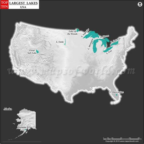 worlds largest lakes map 10 largest lakes in the us top ten