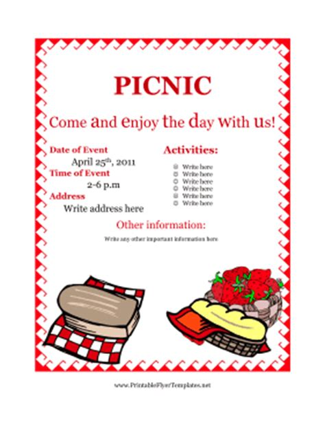 Printable Flyers Templates Free flyer for picnic