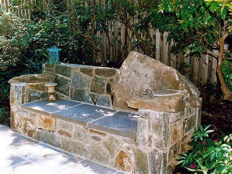 how to make a stone bench garden art land art design