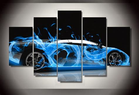 printable car wall art frame picture abstract hot blue sports super car wall