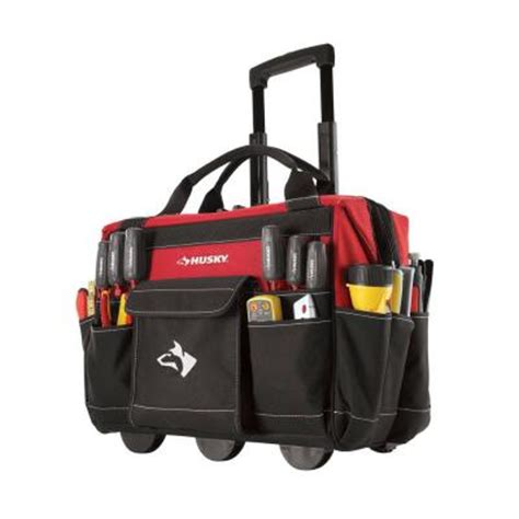 husky 18 in rolling tool tote 82001n11 the home depot