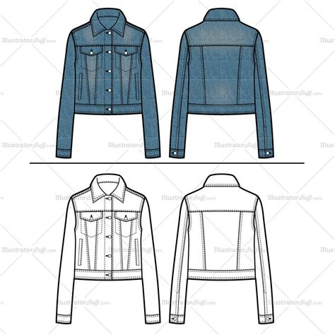 illustrator pattern outline jean jacket flat template illustrator stuff