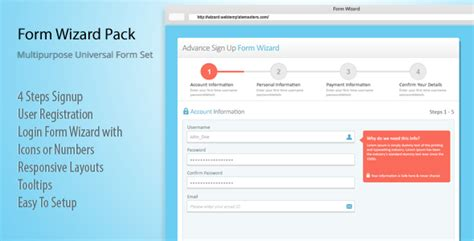 layout login responsive features 4 steps signup user registration login form
