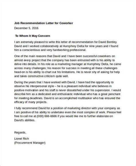 Reference Letter Colleague 11 coworker recommendation letters free sle exle