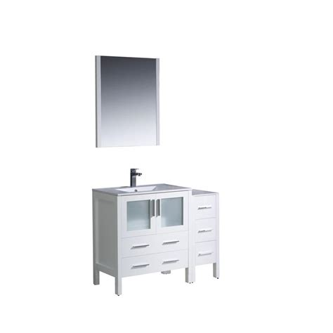 42 Vanity Top by Fresca Torino 42 In Vanity In White With Ceramic Vanity Top In White With White Basin And