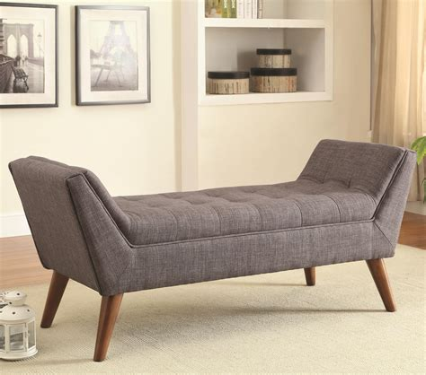 gray fabric tufted bench with wooden legs for living room