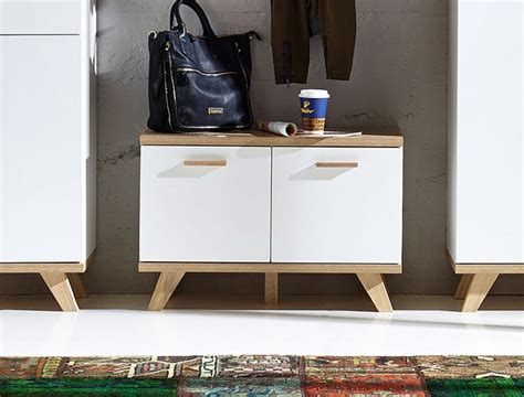 modern shoe storage bench contemporary germania oslo oak and white shoe bench