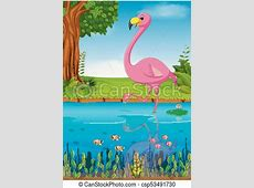 Illustration of crane bird in the river vectors - Search ... Art Clipart Logo