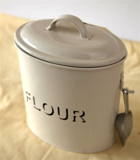 cream enamel flour tin shabby chic vintage kitchen pinterest flour canister cream and