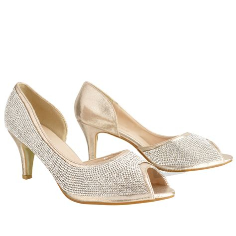 Wedding Shoes Kitten Heel With Peep Toe womens low kitten heel glitter diamante peep toe
