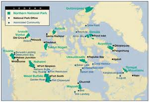 canada national park map parks canada research in northern parks research in