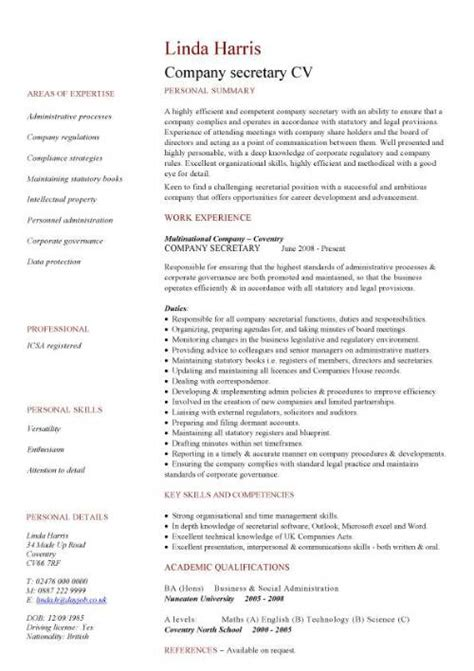 cv design company company secretary cv sle job description and