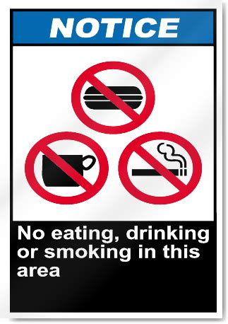 eating and drinking area safety signs signstoyou com no eating drinking or smoking in this area notice signs