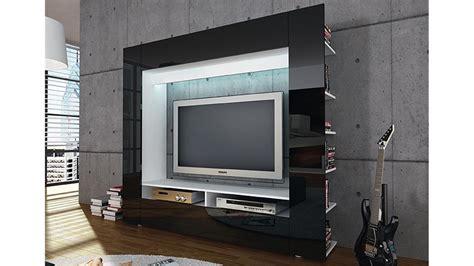 h ngeregal mit schiebet ren tv wohnwand medienwand olli in hochglanz schwarz