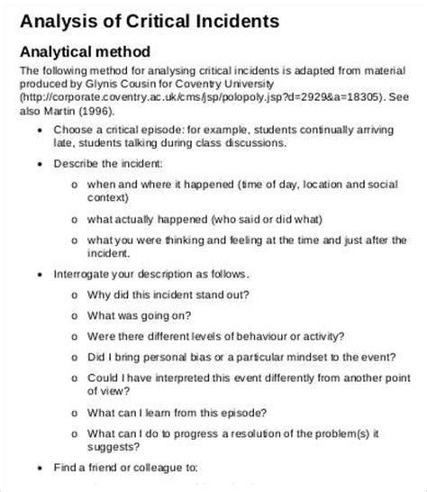 Critical Incident Review Template critical analysis templates 6 free word excel pdf