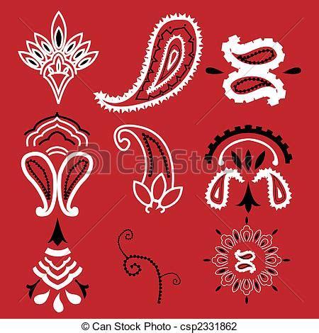 bandana pattern drawing vector illustration of bandana paisley nine elements