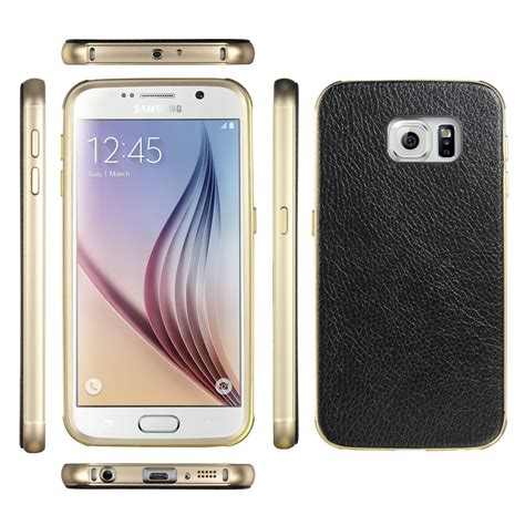 Samsung Galaxy S6 Hybrid Metal Bumper Leather Back Casing 3 luxury leather metal aluminum bumper frame cover for samsug galaxy s6 edge ebay