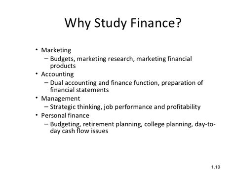 Why Study Mba Finance by Intro To Financial Management