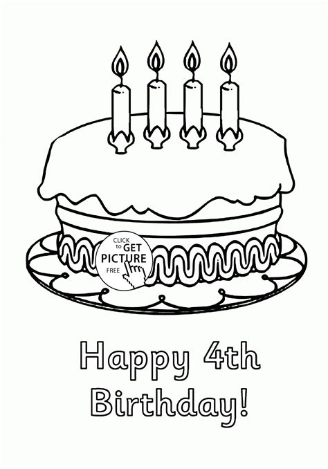 happy 4th birthday cake coloring page for kids holiday