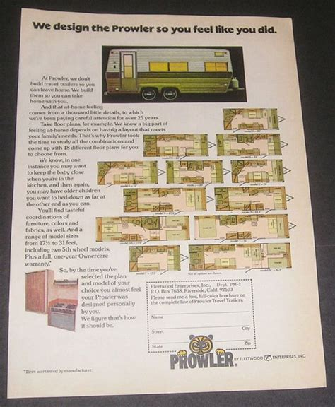 prowler travel trailers floor plans 1976 prowler travel trailer floor plans fleetwood