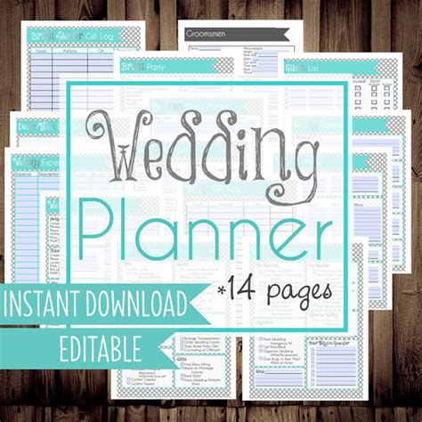 download printable wedding planner printable wedding checklist planner