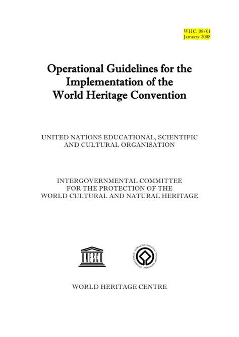 operational guidelines template operational guidelines for the implementation of the world