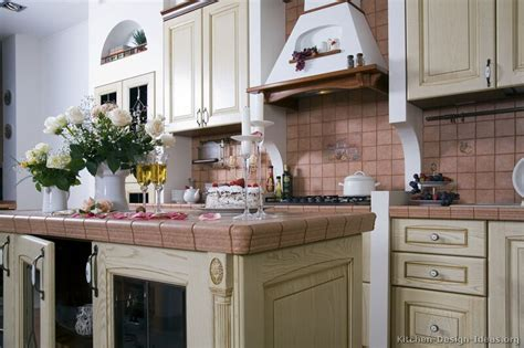 Pink Tiles Kitchen by Pictures Of Kitchens Traditional Whitewashed Cabinets