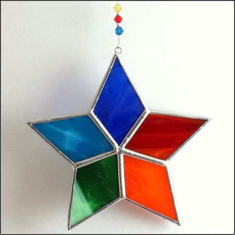 rainbow star stained glass suncatcher christmas tree ornament