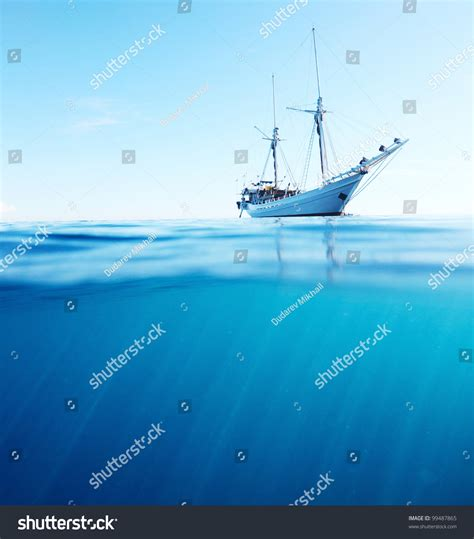 boat view images sail boat tropical calm sea on stock photo 99487865