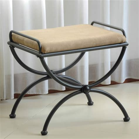 iron vanity bench iron vanity bench with microsuede cushion 3407 xx