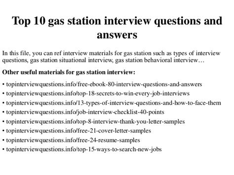 Gas Station Attendant Cover Letter by Top 10 Gas Station Questions And Answers