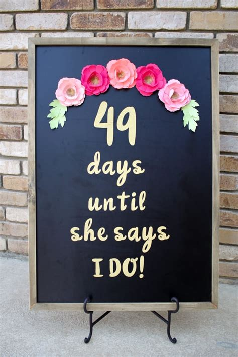 diy wedding shower decorations 2 diy wedding day countdown chalkboard sign with cricut no 2 pencil