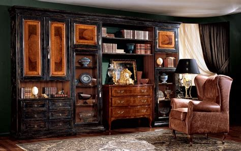 librerie classiche di lusso libreria con finitura scura idfdesign