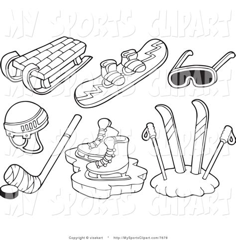 sledge hockey coloring pages winter sledding clipart 41