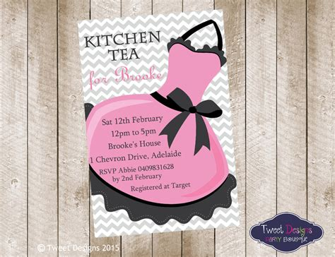 kitchen tea invites ideas pink apron clipart 22