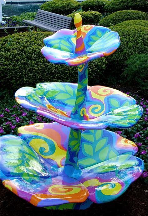 colorful bird baths colorful bird bath backyard wishes