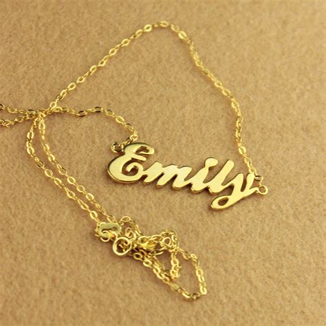 necklace with name on it cursive nameplate necklace 18k gold plated