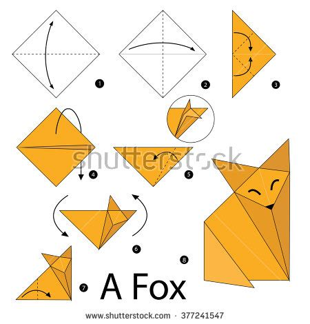 Step By Step Origami - origami fox stock photos images pictures